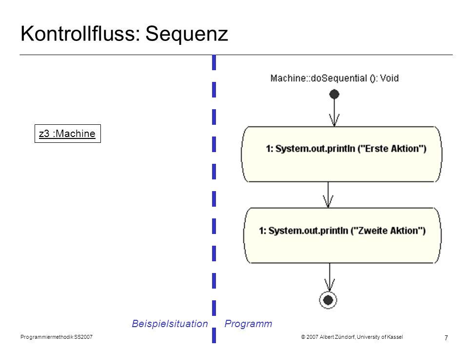 Programmiermethodik SS2007 © 2007 Albert Zündorf, University of Kassel 8 Kontrollfluss: Fallunterscheidung Beispielsituation Programm z4 :Machine