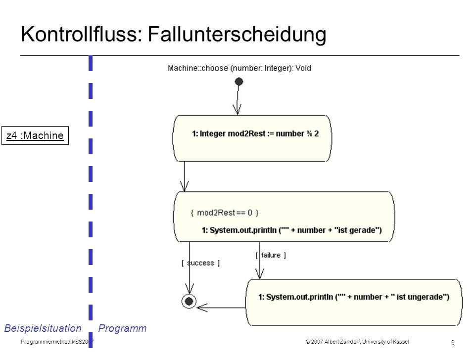 Programmiermethodik SS2007 © 2007 Albert Zündorf, University of Kassel 10 Kontrollfluss: Zählschleife Beispielsituation Programm z5 :Machine