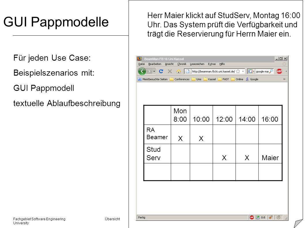 Fachgebiet Software Engineering Übersicht © 22.01.2014 Albert Zündorf, Kassel University GUI Pappmodelle Für jeden Use Case: Beispielszenarios mit: GU