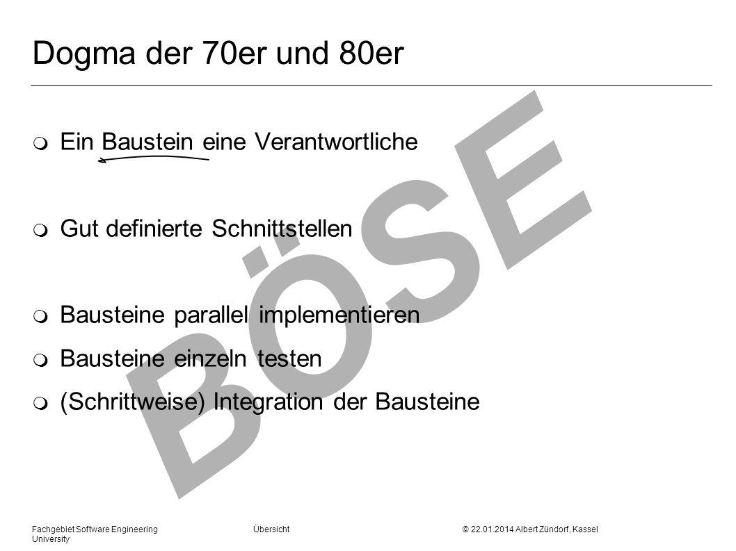 Fachgebiet Software Engineering Übersicht © 22.01.2014 Albert Zündorf, Kassel University BÖSE Dogma der 70er und 80er m Ein Baustein eine Verantwortli