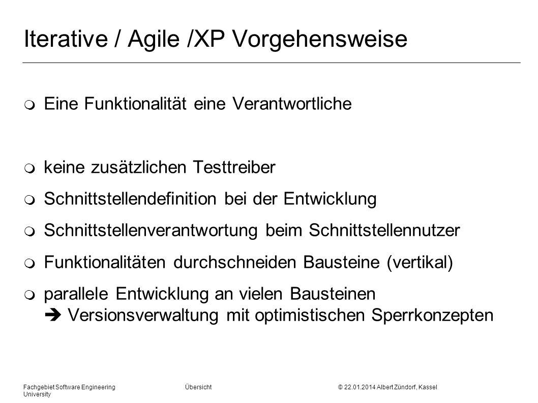 Fachgebiet Software Engineering Übersicht © 22.01.2014 Albert Zündorf, Kassel University Iterative / Agile /XP Vorgehensweise m Eine Funktionalität ei