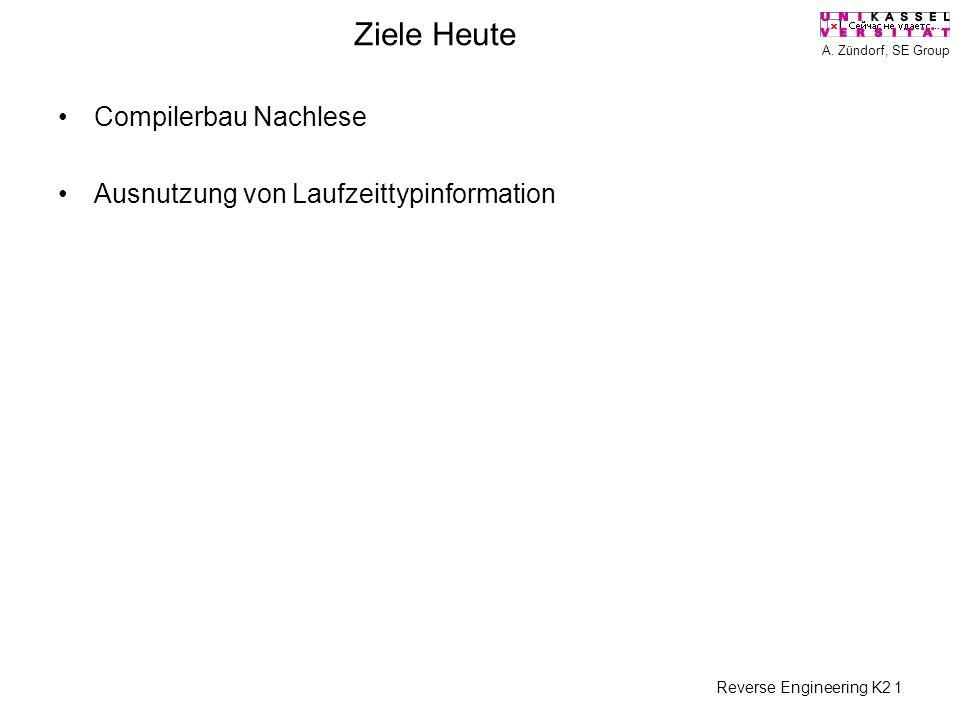 A. Zündorf, SE Group Reverse Engineering K2 1 Ziele Heute Compilerbau Nachlese Ausnutzung von Laufzeittypinformation