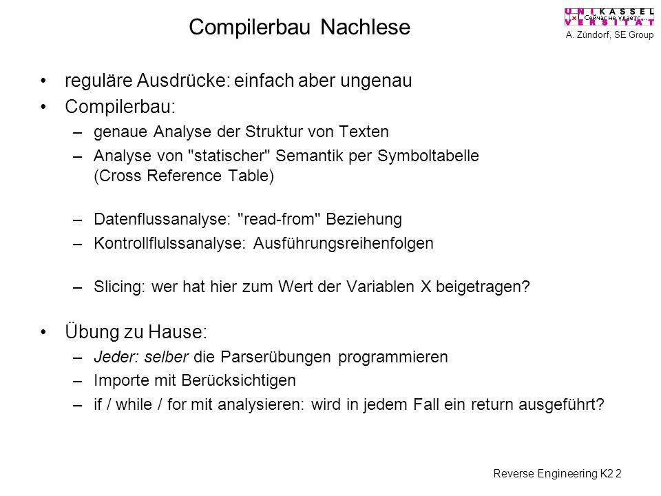 A. Zündorf, SE Group Reverse Engineering K2 2 Compilerbau Nachlese reguläre Ausdrücke: einfach aber ungenau Compilerbau: –genaue Analyse der Struktur