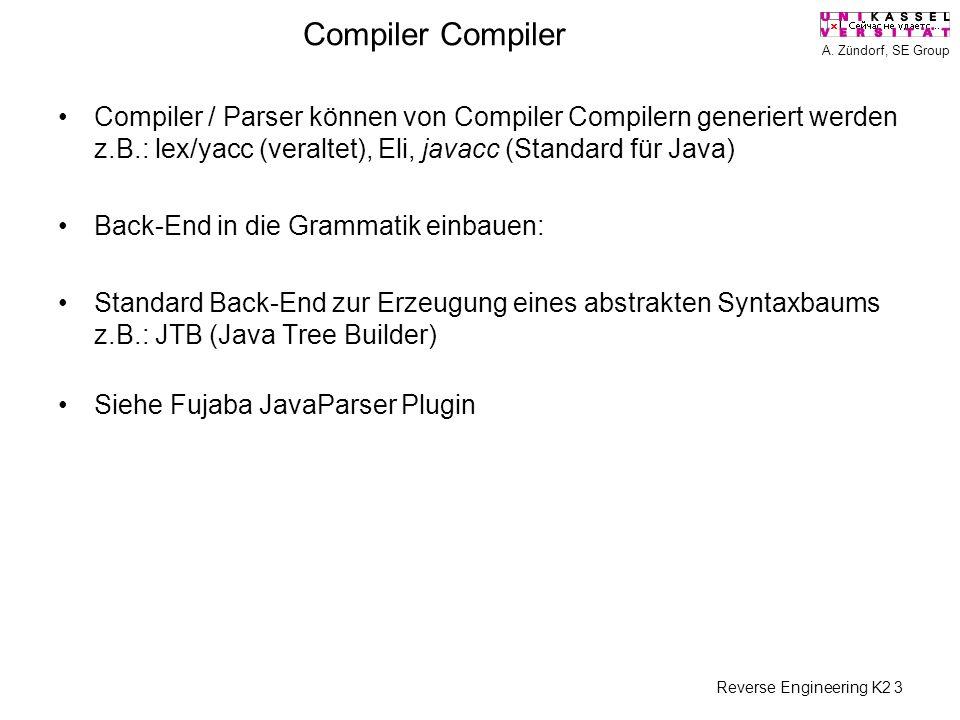 A. Zündorf, SE Group Reverse Engineering K2 3 Compiler Compiler / Parser können von Compiler Compilern generiert werden z.B.: lex/yacc (veraltet), Eli