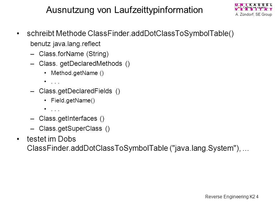 A. Zündorf, SE Group Reverse Engineering K2 4 Ausnutzung von Laufzeittypinformation schreibt Methode ClassFinder.addDotClassToSymbolTable() benutz jav