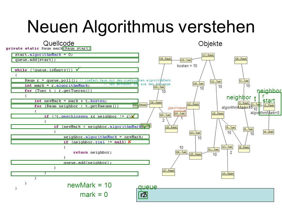 Neuen Algorithmus verstehen Objekte Quellcode 10 kosten = 10 10 2 1 2 geschlossen 10 start algorithmMark=0 r2 queue r mark= 0 t newMark= 10 neighbor n