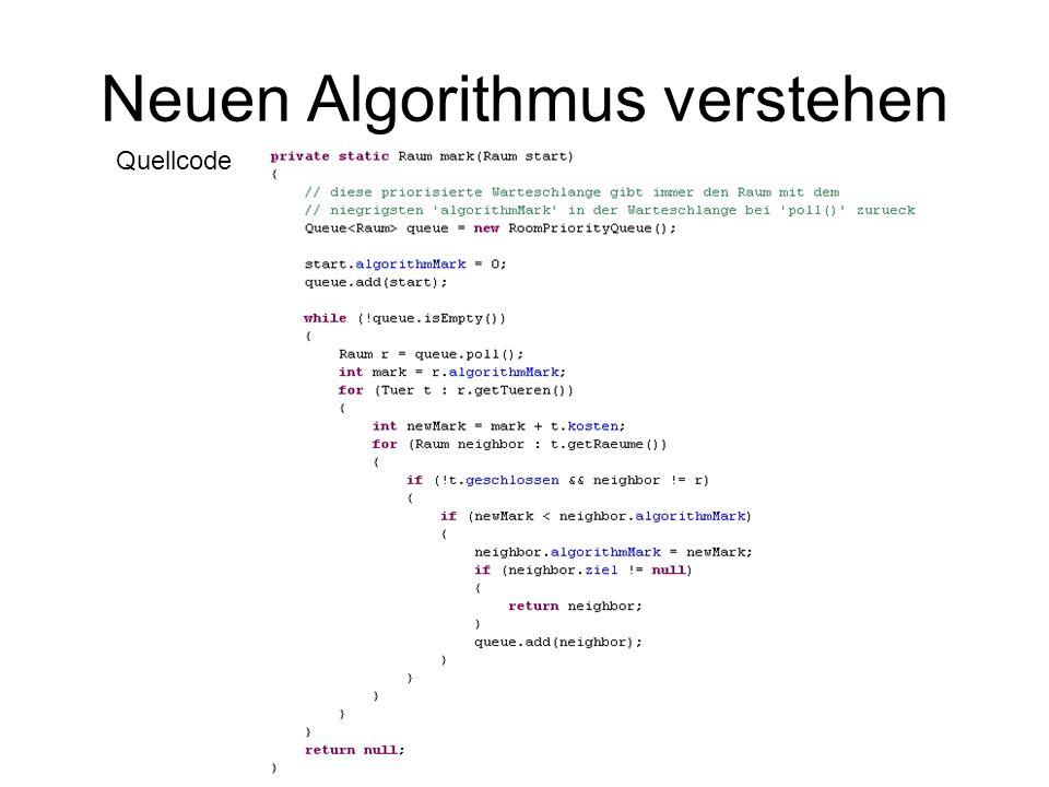 Neuen Algorithmus verstehen Quellcode