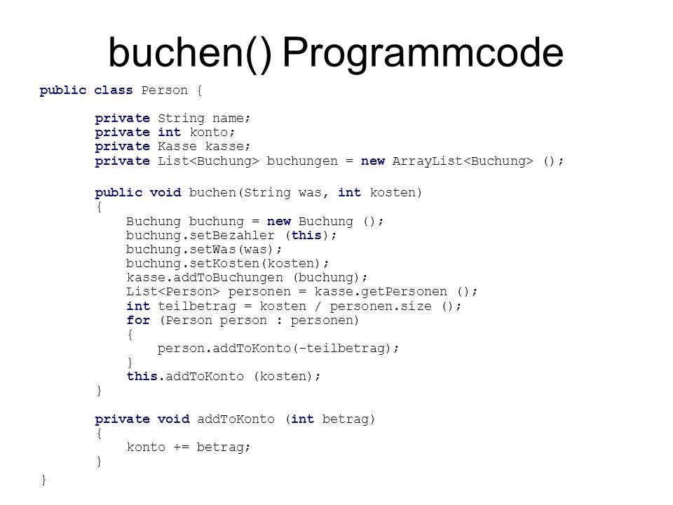 buchen() Ablauf public void buchen(String was, int kosten) { Buchung buchung = new Buchung (); buchung.setBezahler (this); buchung.setWas(was); buchung.setKosten(kosten); kasse.addToBuchungen (buchung); List personen = kasse.getPersonen(); int teilbetrag = kosten / personen.size(); for (Person person : personen) { person.addToKonto(-teilbetrag); } this.addToKonto (kosten); } was = Würstchen kosten = 6 personen = [ ap, bp, op ] teilbetrag = 6 / 3 = 2 bezahlt > Würstchen 6 < buchungen konto == -2 / 4