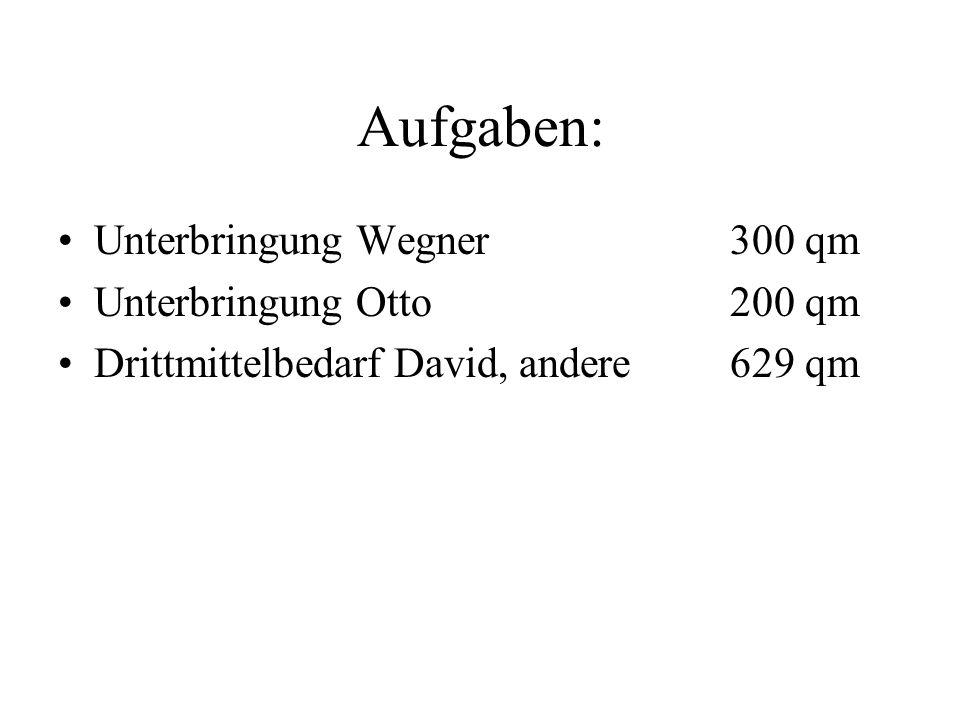 Aufgaben: Unterbringung Wegner300 qm Unterbringung Otto200 qm Drittmittelbedarf David, andere629 qm