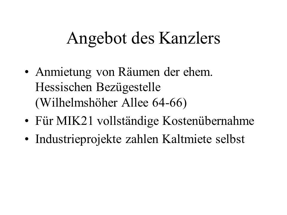 Angebot des Kanzlers Anmietung von Räumen der ehem.