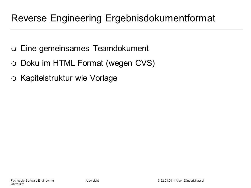 Fachgebiet Software Engineering Übersicht © 22.01.2014 Albert Zündorf, Kassel University Reverse Engineering Ergebnisdokumentformat m Eine gemeinsames