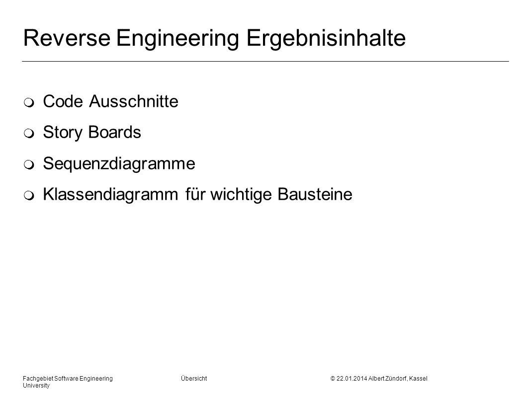 Fachgebiet Software Engineering Übersicht © 22.01.2014 Albert Zündorf, Kassel University Reverse Engineering Ergebnisinhalte m Code Ausschnitte m Stor