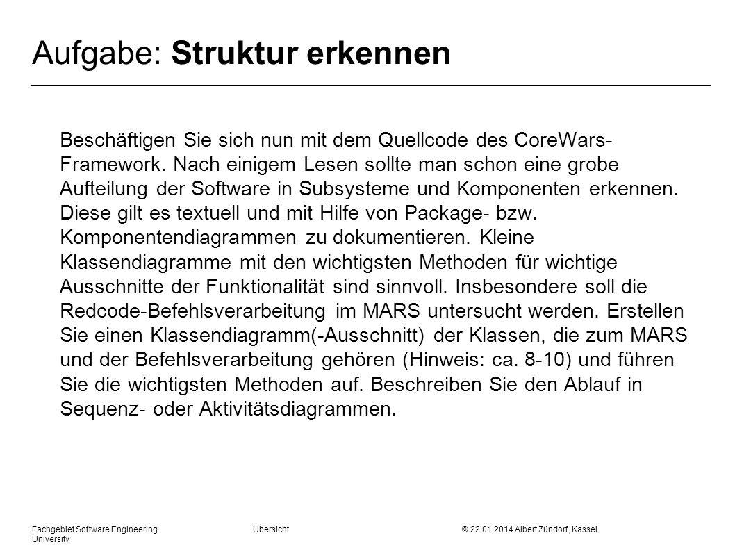 Fachgebiet Software Engineering Übersicht © 22.01.2014 Albert Zündorf, Kassel University Aufgabe: Struktur erkennen Beschäftigen Sie sich nun mit dem