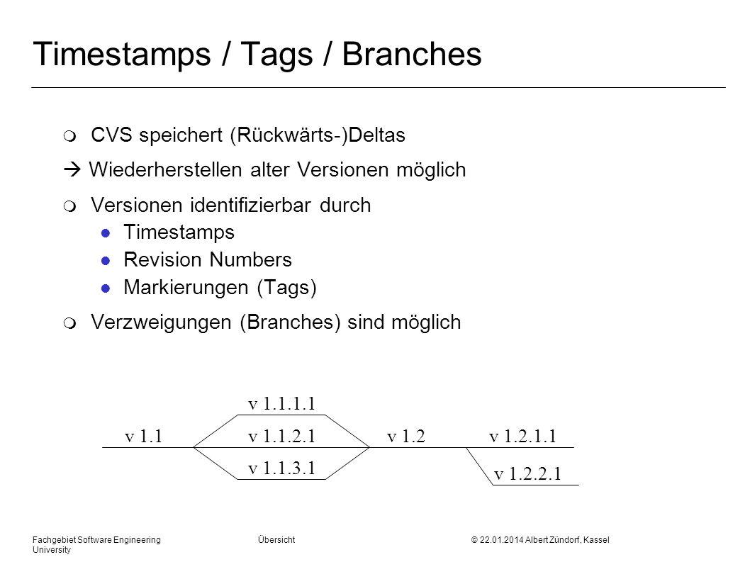 Fachgebiet Software Engineering Übersicht © 22.01.2014 Albert Zündorf, Kassel University Timestamps / Tags / Branches m CVS speichert (Rückwärts-)Delt