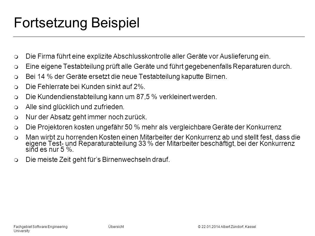 Fachgebiet Software Engineering Übersicht © 22.01.2014 Albert Zündorf, Kassel University Fortsetzung Beispiel m Die Firma führt eine explizite Abschlu