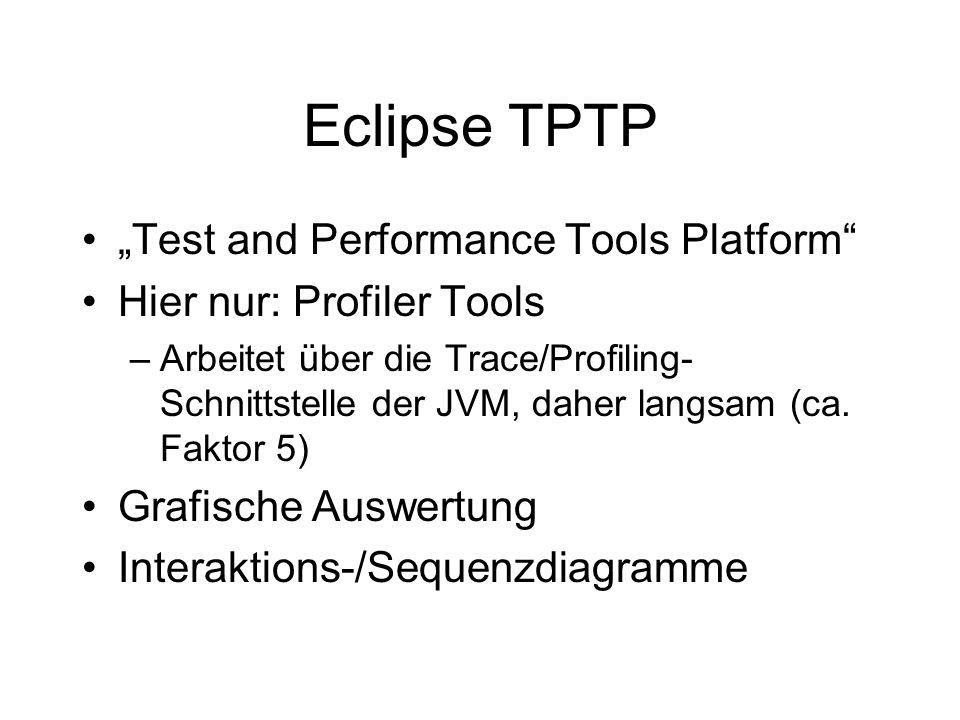 Eclipse TPTP Test and Performance Tools Platform Hier nur: Profiler Tools –Arbeitet über die Trace/Profiling- Schnittstelle der JVM, daher langsam (ca