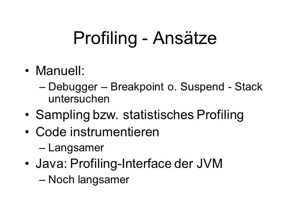 Java Hprof Im JDK enthalten, mit -Xprof Parameter zu starten Erzeugt eine Profiling-Trace-Datei –java.hprof.txt Nur textuell (Aufruf & Ergebnis!) Nur 10% Performance-Verlust bei Sampling Kann alles was man braucht