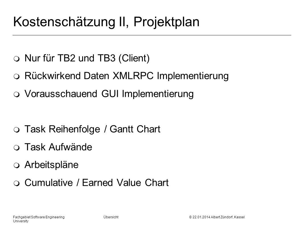 Fachgebiet Software Engineering Übersicht © 22.01.2014 Albert Zündorf, Kassel University Kostenschätzung II, Projektplan m Nur für TB2 und TB3 (Client