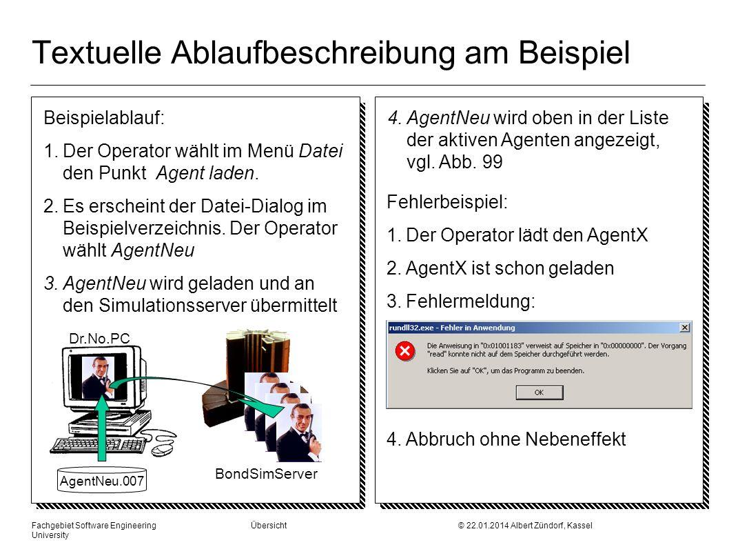 Textuelle Ablaufbeschreibung am Beispiel Beispielablauf: 1.Der Operator wählt im Menü Datei den Punkt Agent laden. 2.Es erscheint der Datei-Dialog im