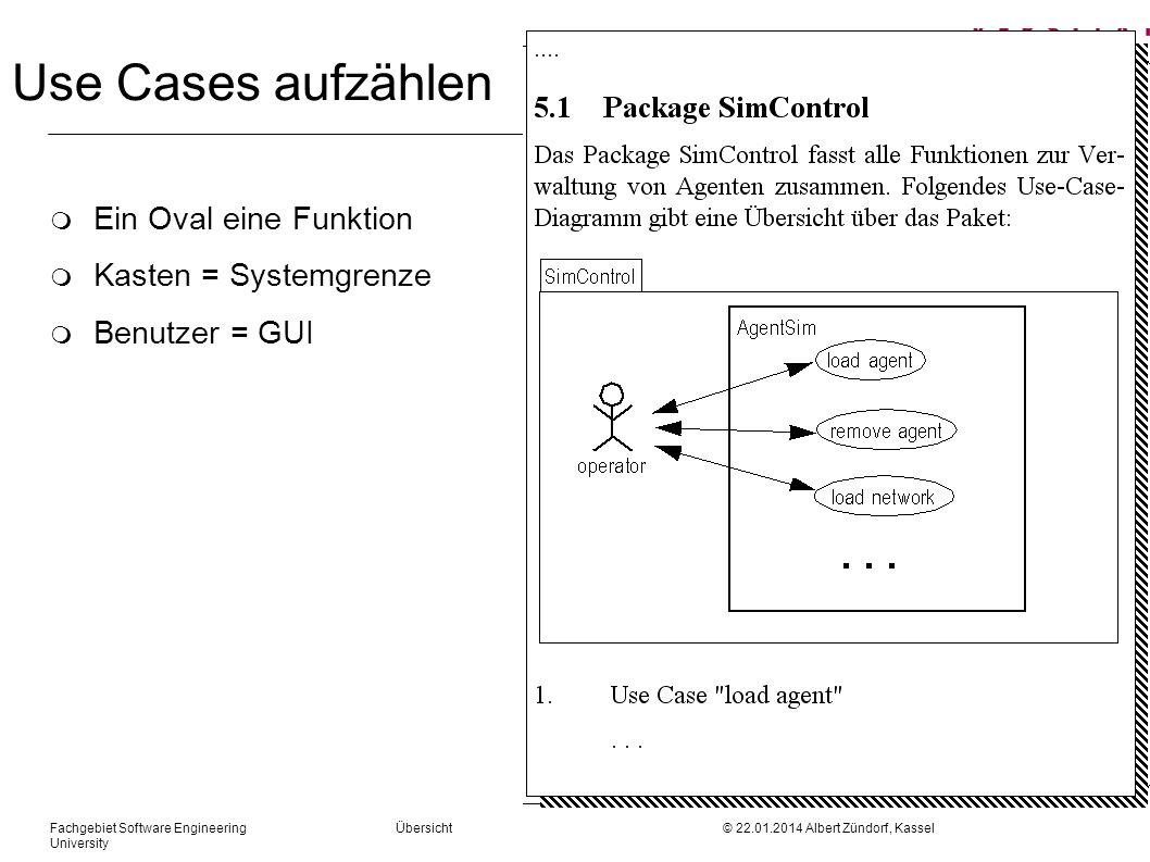 Fachgebiet Software Engineering Übersicht © 22.01.2014 Albert Zündorf, Kassel University Use Cases aufzählen m Ein Oval eine Funktion m Kasten = Syste