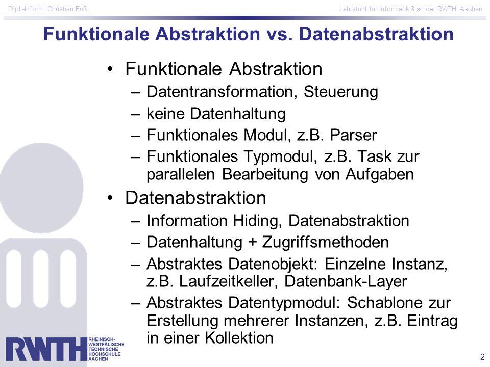 2 Dipl.-Inform. Christian Fuß Lehrstuhl für Informatik 3 an der RWTH Aachen Funktionale Abstraktion vs. Datenabstraktion Funktionale Abstraktion –Date