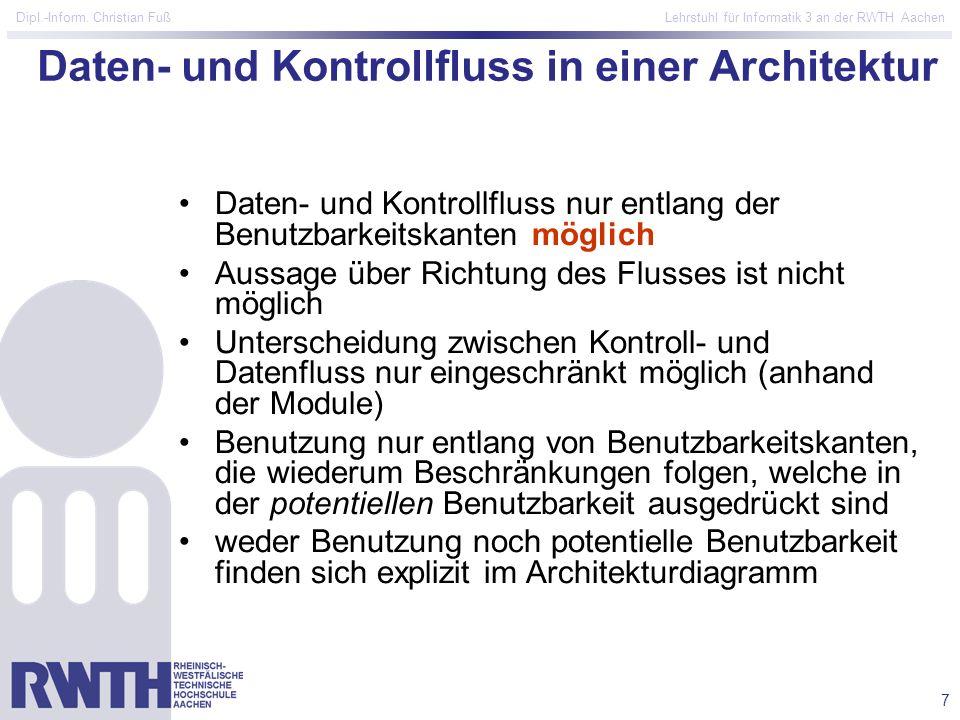 7 Dipl.-Inform. Christian Fuß Lehrstuhl für Informatik 3 an der RWTH Aachen Daten- und Kontrollfluss in einer Architektur Daten- und Kontrollfluss nur