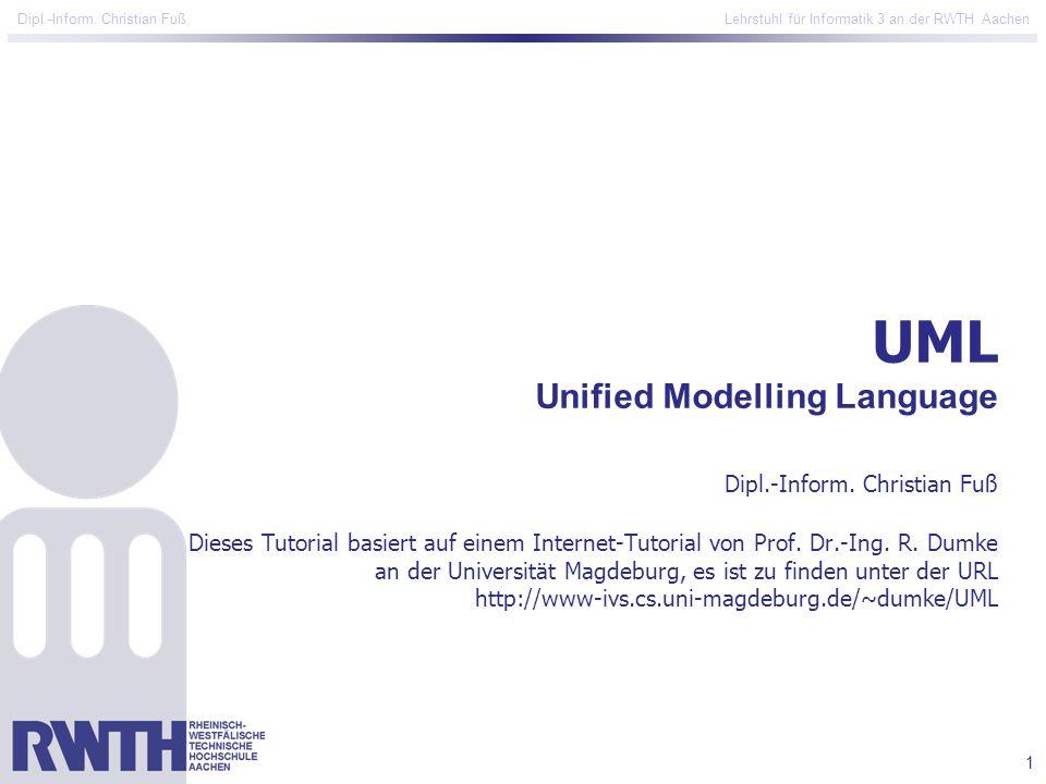 1 Dipl.-Inform. Christian Fuß Lehrstuhl für Informatik 3 an der RWTH Aachen UML Unified Modelling Language Dipl.-Inform. Christian Fuß Dieses Tutorial