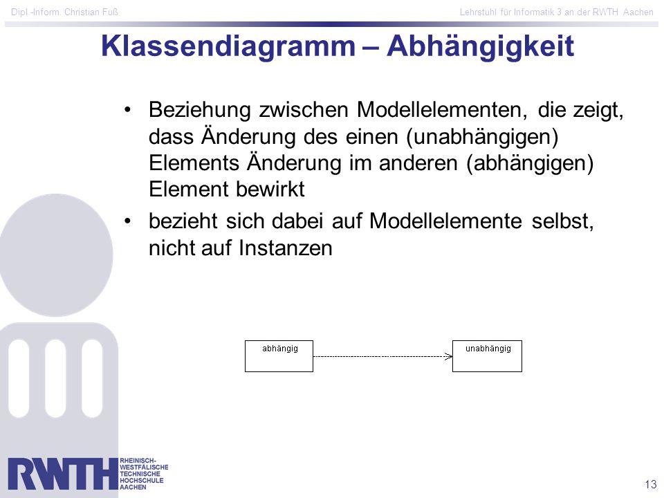 13 Dipl.-Inform. Christian Fuß Lehrstuhl für Informatik 3 an der RWTH Aachen Klassendiagramm – Abhängigkeit Beziehung zwischen Modellelementen, die ze