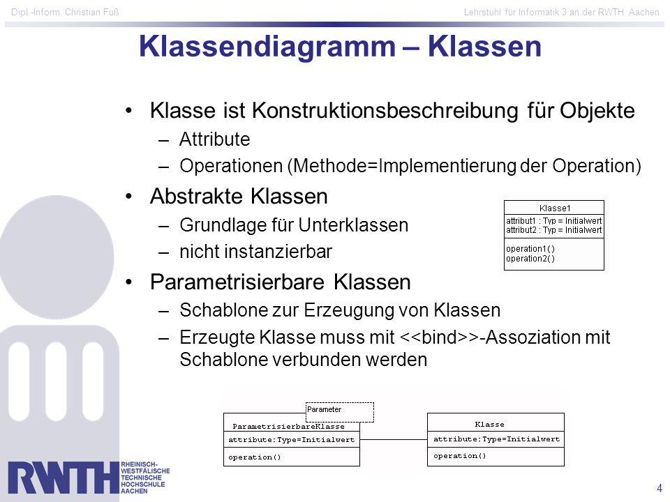 4 Dipl.-Inform. Christian Fuß Lehrstuhl für Informatik 3 an der RWTH Aachen Klassendiagramm – Klassen Klasse ist Konstruktionsbeschreibung für Objekte