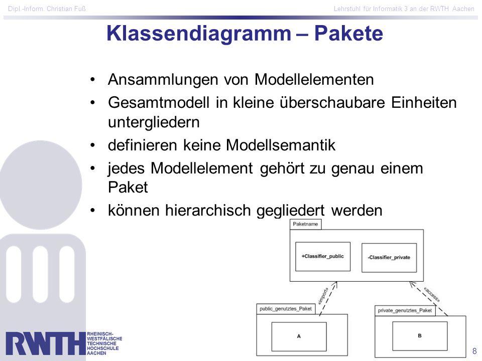 8 Dipl.-Inform. Christian Fuß Lehrstuhl für Informatik 3 an der RWTH Aachen Klassendiagramm – Pakete Ansammlungen von Modellelementen Gesamtmodell in