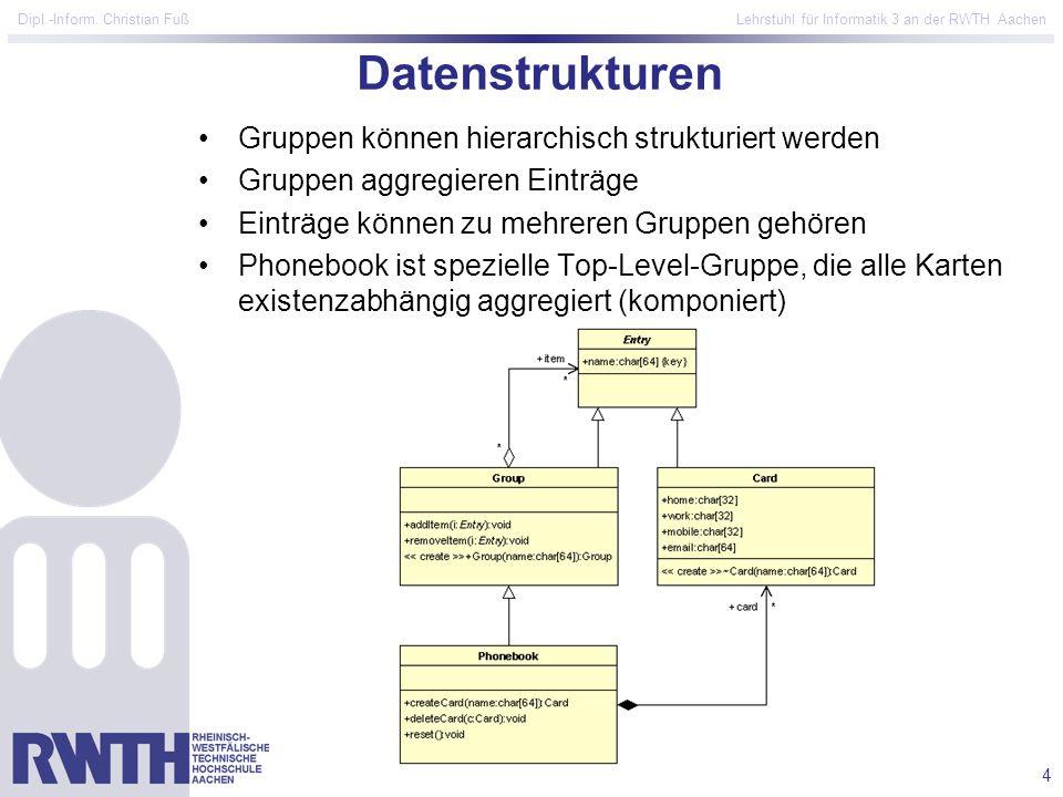 4 Dipl.-Inform. Christian Fuß Lehrstuhl für Informatik 3 an der RWTH Aachen Datenstrukturen Gruppen können hierarchisch strukturiert werden Gruppen ag