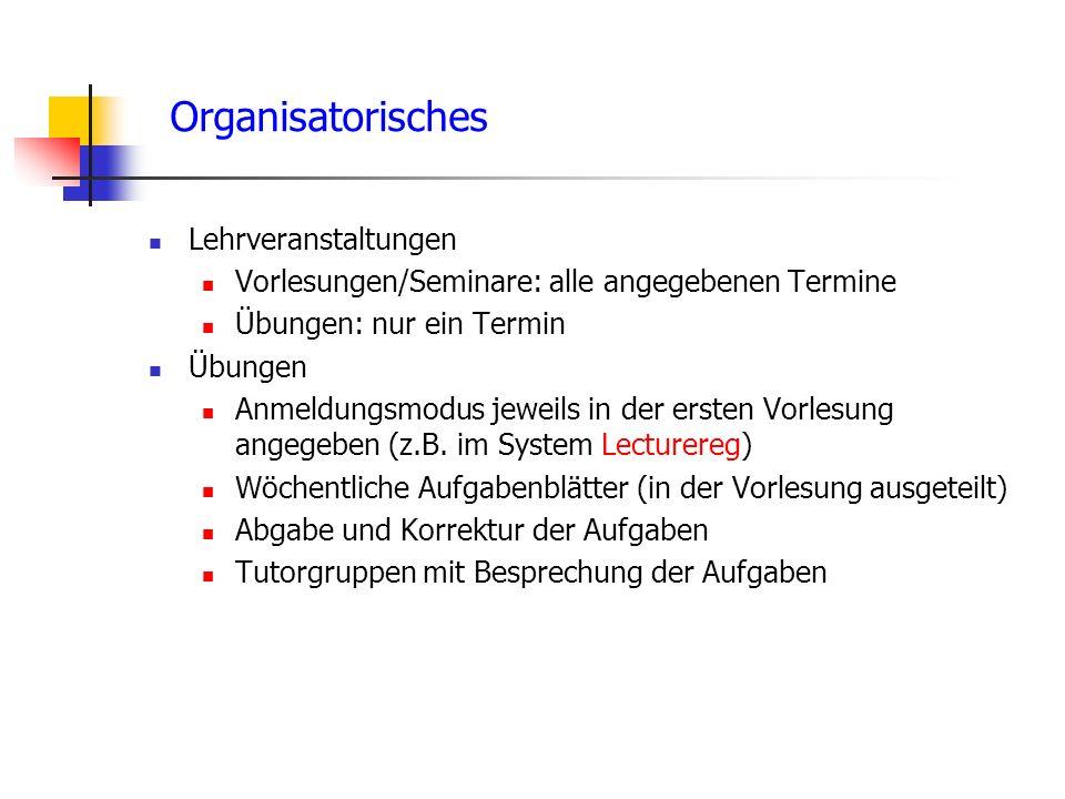 Organisatorisches Lehrveranstaltungen Vorlesungen/Seminare: alle angegebenen Termine Übungen: nur ein Termin Übungen Anmeldungsmodus jeweils in der er