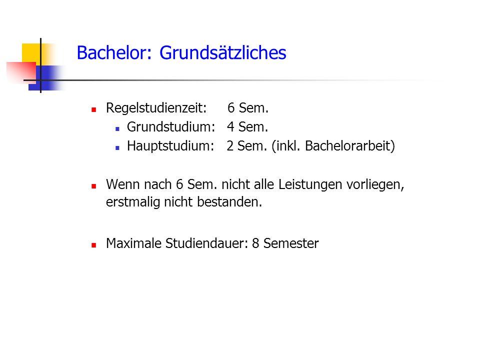 Bachelor: Grundsätzliches Regelstudienzeit: 6 Sem.