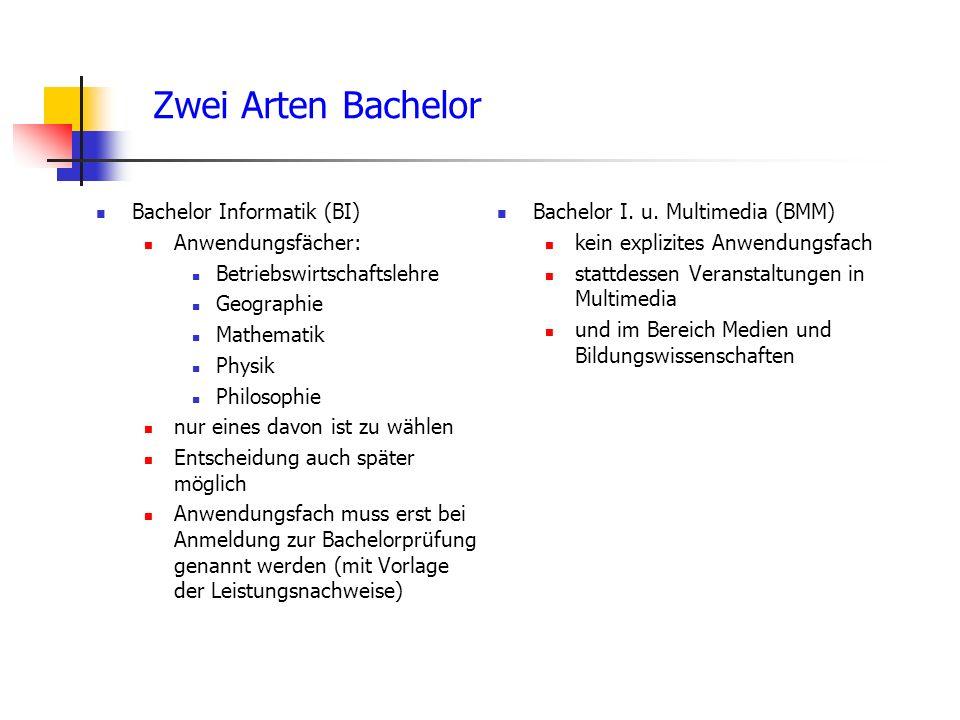 Zwei Arten Bachelor Bachelor Informatik (BI) Anwendungsfächer: Betriebswirtschaftslehre Geographie Mathematik Physik Philosophie nur eines davon ist zu wählen Entscheidung auch später möglich Anwendungsfach muss erst bei Anmeldung zur Bachelorprüfung genannt werden (mit Vorlage der Leistungsnachweise) Bachelor I.