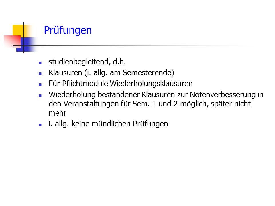 Prüfungen studienbegleitend, d.h.Klausuren (i. allg.