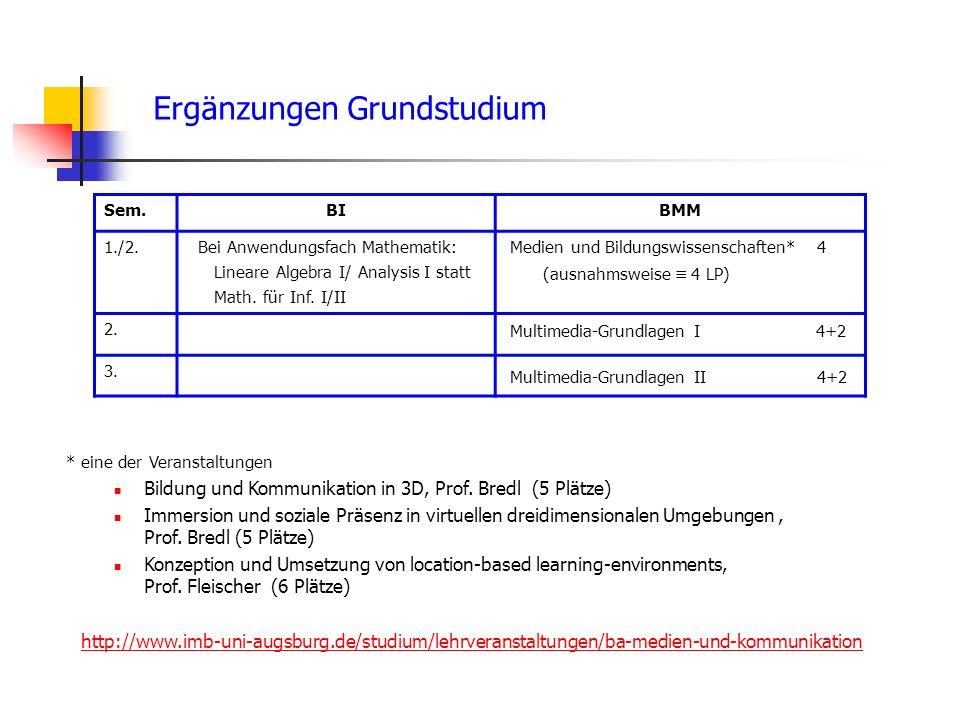 Ergänzungen Grundstudium Sem.BIBMM 1./2. Bei Anwendungsfach Mathematik: Lineare Algebra I/ Analysis I statt Math. für Inf. I/II Medien und Bildungswis