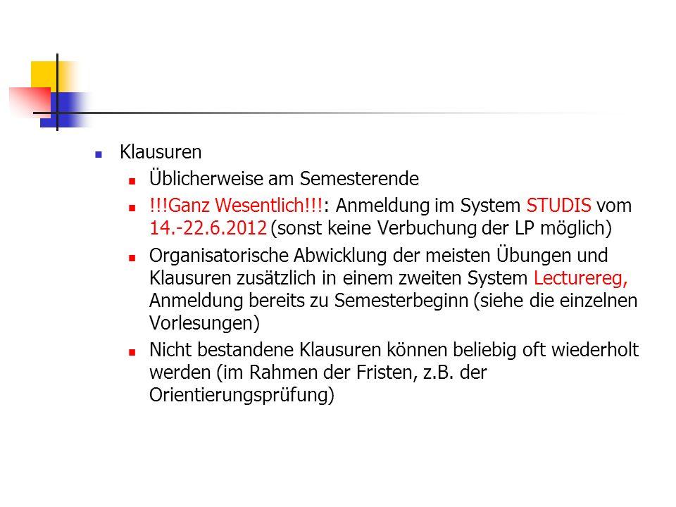 Klausuren Üblicherweise am Semesterende !!!Ganz Wesentlich!!!: Anmeldung im System STUDIS vom 14.-22.6.2012 (sonst keine Verbuchung der LP möglich) Or