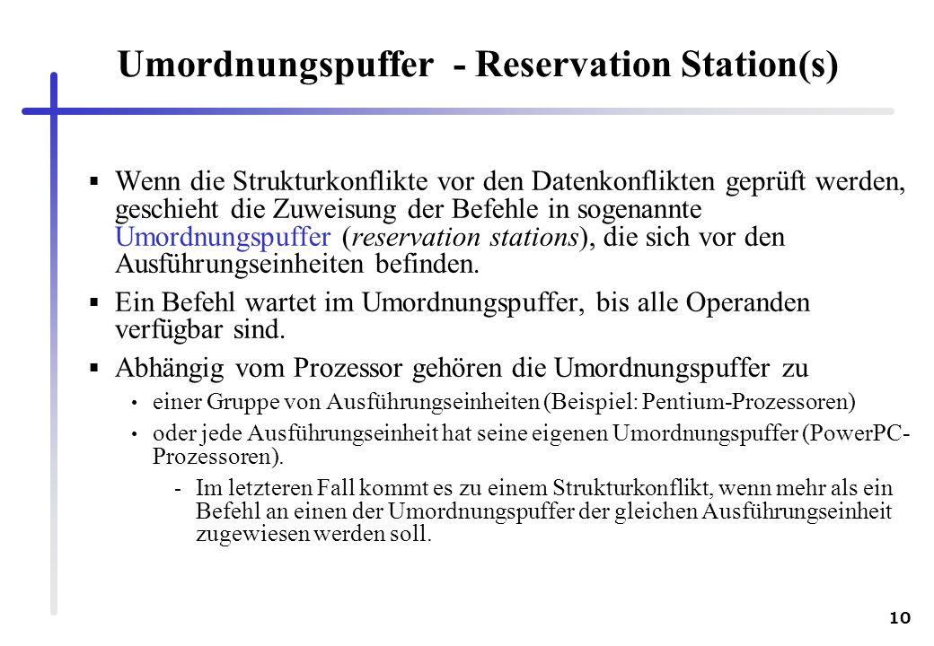 10 Umordnungspuffer - Reservation Station(s) Wenn die Strukturkonflikte vor den Datenkonflikten geprüft werden, geschieht die Zuweisung der Befehle in sogenannte Umordnungspuffer (reservation stations), die sich vor den Ausführungseinheiten befinden.