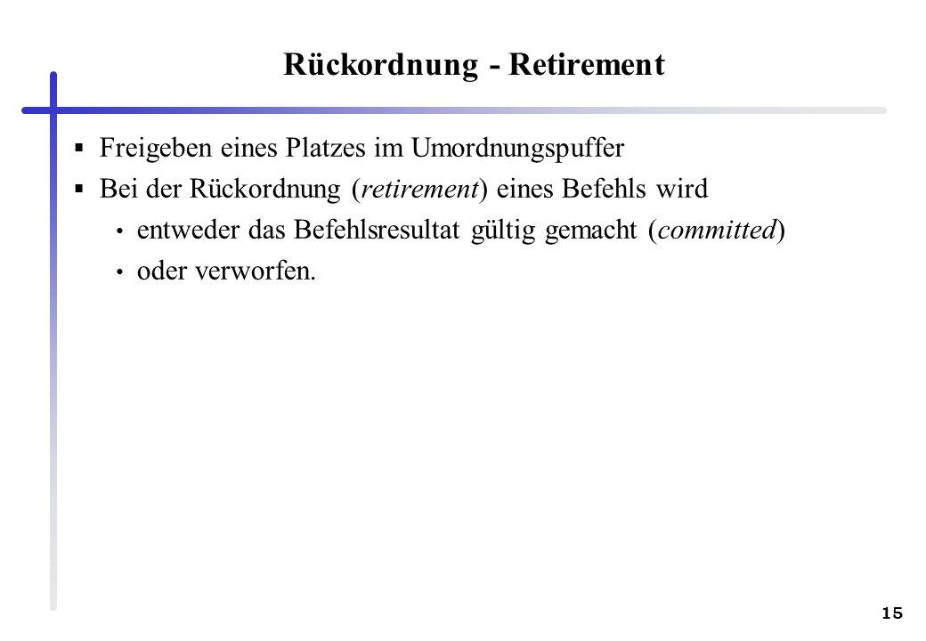 15 Rückordnung - Retirement Freigeben eines Platzes im Umordnungspuffer Bei der Rückordnung (retirement) eines Befehls wird entweder das Befehlsresultat gültig gemacht (committed) oder verworfen.