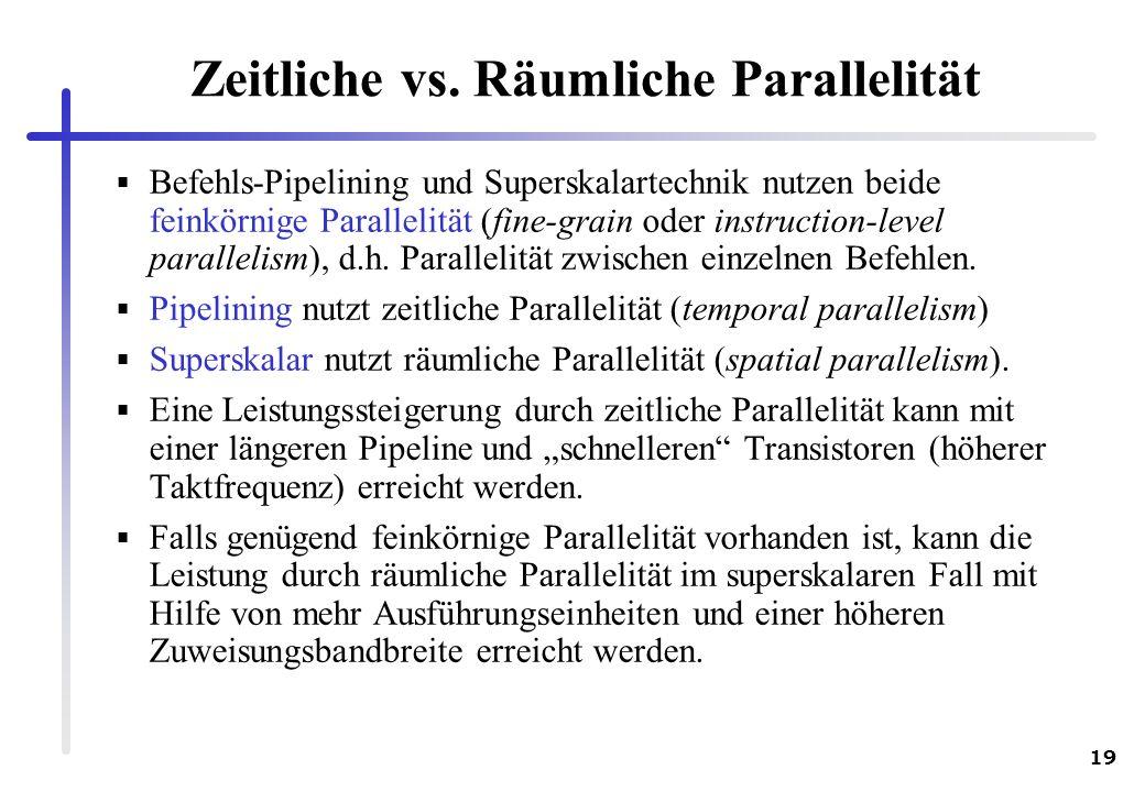 19 Zeitliche vs. Räumliche Parallelität Befehls-Pipelining und Superskalartechnik nutzen beide feinkörnige Parallelität (fine-grain oder instruction-l