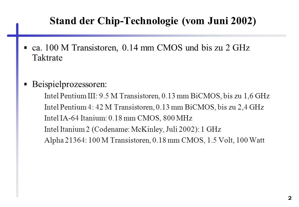 2 Stand der Chip-Technologie (vom Juni 2002) ca. 100 M Transistoren, 0.14 mm CMOS und bis zu 2 GHz Taktrate Beispielprozessoren: Intel Pentium III: 9.
