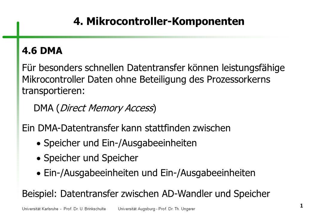 Universität Karlsruhe - Prof. Dr. U. Brinkschulte Universität Augsburg - Prof. Dr. Th. Ungerer 1 4. Mikrocontroller-Komponenten 4.6 DMA Für besonders