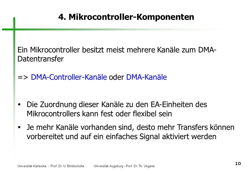 Universität Karlsruhe - Prof. Dr. U. Brinkschulte Universität Augsburg - Prof. Dr. Th. Ungerer 10 4. Mikrocontroller-Komponenten Ein Mikrocontroller b