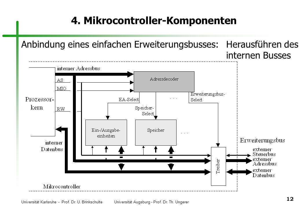 Universität Karlsruhe - Prof. Dr. U. Brinkschulte Universität Augsburg - Prof. Dr. Th. Ungerer 12 4. Mikrocontroller-Komponenten Anbindung eines einfa