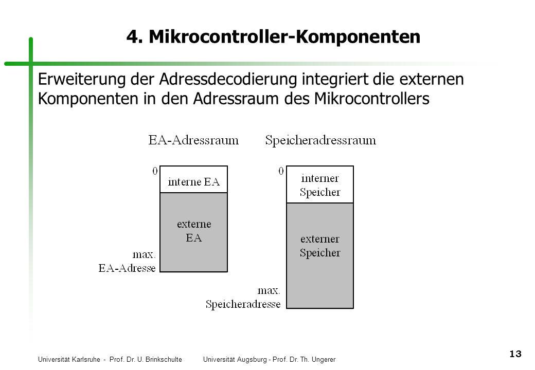 Universität Karlsruhe - Prof. Dr. U. Brinkschulte Universität Augsburg - Prof. Dr. Th. Ungerer 13 4. Mikrocontroller-Komponenten Erweiterung der Adres