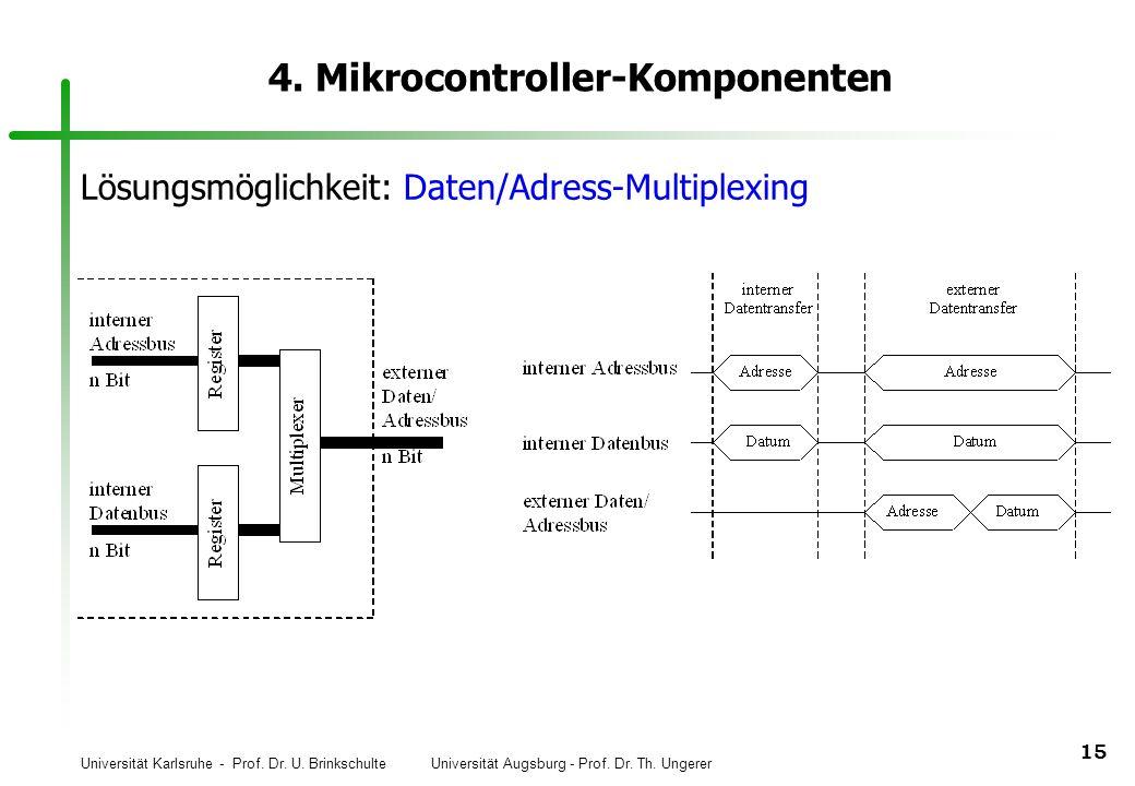 Universität Karlsruhe - Prof. Dr. U. Brinkschulte Universität Augsburg - Prof. Dr. Th. Ungerer 15 4. Mikrocontroller-Komponenten Lösungsmöglichkeit: D