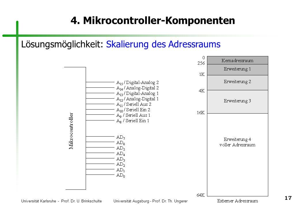Universität Karlsruhe - Prof. Dr. U. Brinkschulte Universität Augsburg - Prof. Dr. Th. Ungerer 17 4. Mikrocontroller-Komponenten Lösungsmöglichkeit: S