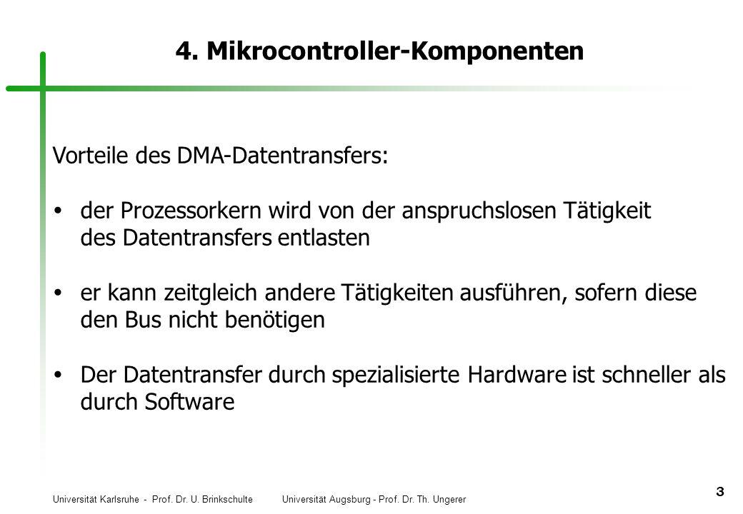 Universität Karlsruhe - Prof. Dr. U. Brinkschulte Universität Augsburg - Prof. Dr. Th. Ungerer 3 4. Mikrocontroller-Komponenten Vorteile des DMA-Daten