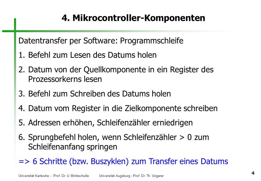 Universität Karlsruhe - Prof. Dr. U. Brinkschulte Universität Augsburg - Prof. Dr. Th. Ungerer 4 4. Mikrocontroller-Komponenten Datentransfer per Soft