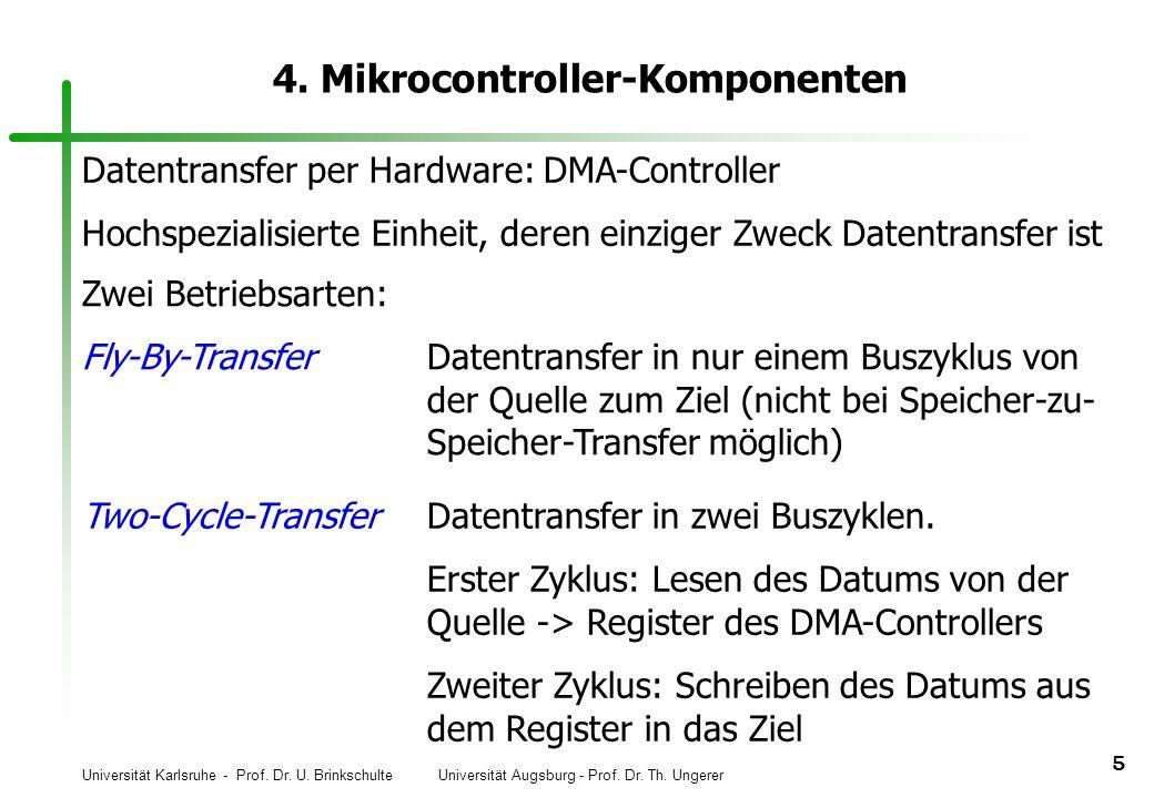 Universität Karlsruhe - Prof. Dr. U. Brinkschulte Universität Augsburg - Prof. Dr. Th. Ungerer 5 4. Mikrocontroller-Komponenten Datentransfer per Hard
